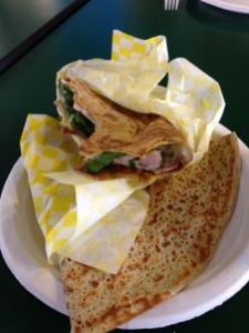 egg, bacon, spinach crepe