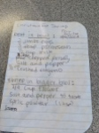 """Christmas Eve Shrimp"" recipe (Fran's instructions, Jane's handwriting, my notes)"