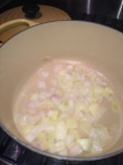 shallots and onion, sauteing in butter