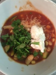 white bean chili -- I like lots of cilantro!