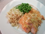 wild-caught salmon with organic brown rice and organic frozen peas