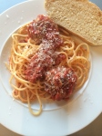 6 year old's 2nd serving of spaghetti and meatballs